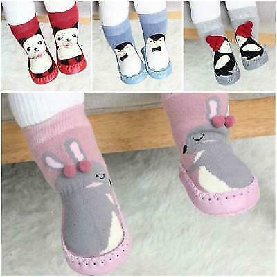 UK Infant Baby Girl Boy Toddler Anti-slip Warm Slippers Socks Cotton Crib Shoes • 3.89£
