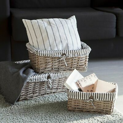 Grey Wicker Storage Basket White Lining Xmas Gift Hamper Basket - In 3 Sizes • 14.99£