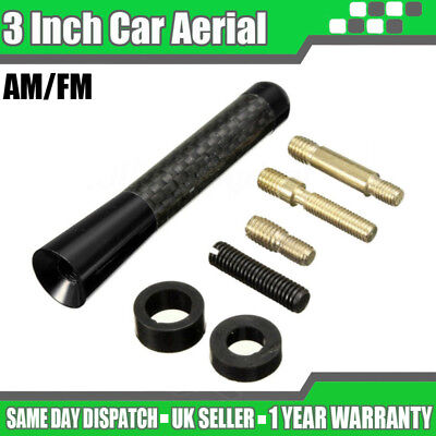 3  Black Carbon Car Aerial Bee Sting Mast Antenna Ariel Arial Mini Radio Stubby • 4.19£