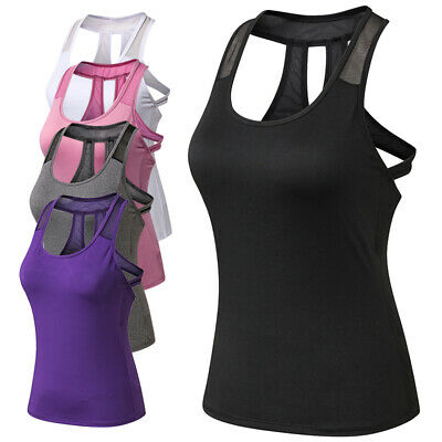 Soft Women Yoga Tops Tank Top Vest Tee Sleeveless Activewear Fit Breathable UK • 9.99£