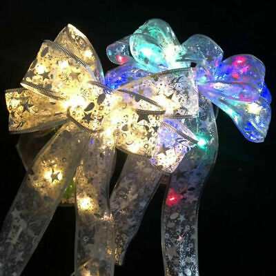 Christmas LED Tree Top Topper Ribbon Bow Light Up Bow Xmas Hanging Decoration • 8.59£