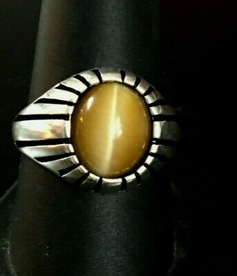 $59 • Buy Handsome New Sterling Silver Cats Eye Chrysoberyl  Mens Ring Size 10 Free Ship!