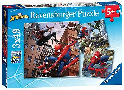 NEW! Ravensburger Spiderman In Action 3 X 49 Piece Marvel Jigsaw Puzzle Set • 8.99£