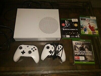 AU197.50 • Buy Microsoft Xbox One S 1TB White 2 Controllers & 3 Games & Hdmi.