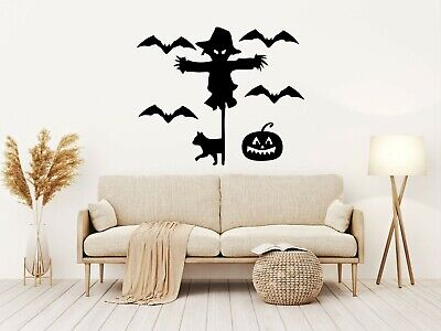 £4.19 • Buy SCARECROW AND BAT Halloween Vinyl Decal Sticker Window Wall Decoration Party M