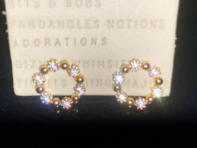 $ CDN23.92 • Buy Anthropologie Small Gold Tone & Rhinestones Sparkle Circle Post Earrings ~new