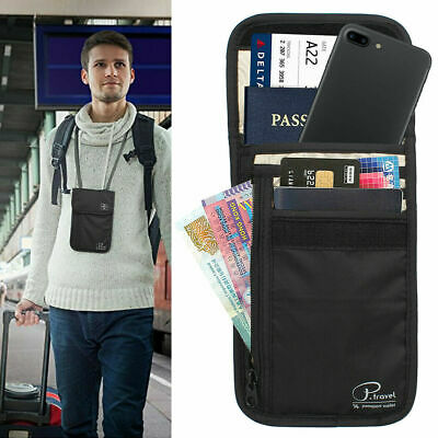 AU9.44 • Buy Passport Card Holder RFID Blocking Security Travel Wallet Bag Neck Stash Pouch