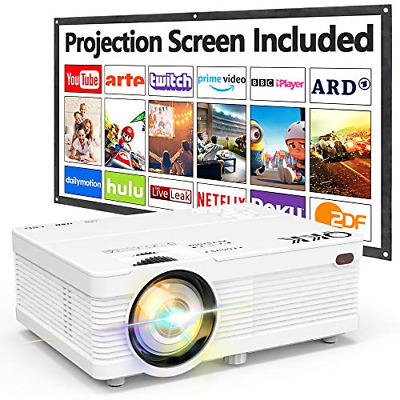 $ CDN138.27 • Buy QKK AK81 Projector With Projection Screen 1080P Full HD Supported Mini 5000 HD