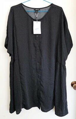 AU60 • Buy NEW ASOS MONKI Black Polkadot Smock Mini Dress Button Up Oversize Spotty 14-16 L