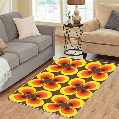 AU94.43 • Buy Retro Area Rugs Vintage Funky 70s 60s Pattern Boho Carpet-3 Sizes To Choose From