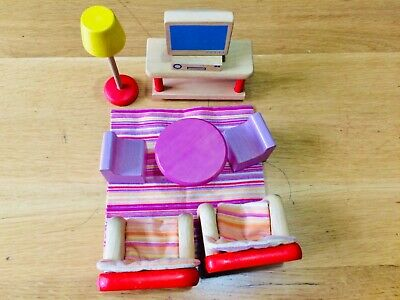 Wooden Pintoy Living Room Set For Dolls House • 14.50£