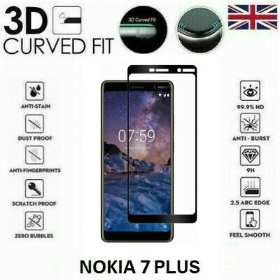 AU5.61 • Buy For Nokia 7 Plus 2018 Full 3D Tempered Glass 9H Screen Protector Black / Clear