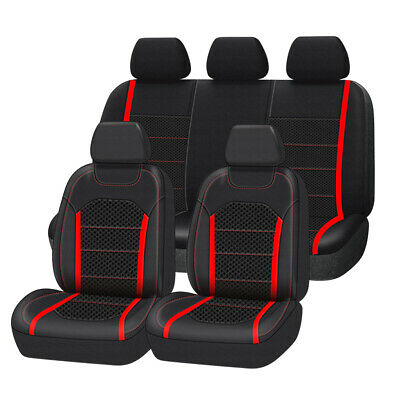 AU94.99 • Buy Premium Leather With Spacer Mesh Universal Red Car Seat Covers Airbag Compatible