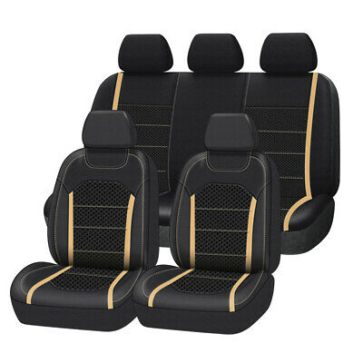 AU94.99 • Buy Premium Leather With Mesh Universal Beige Car Seat Covers Airbag Compatible 9PCS