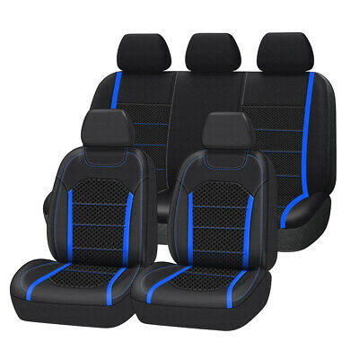 AU94.99 • Buy Leather&Mesh Universal Blue Car Seat Covers Airbag Compatible For SUV Sedan Van