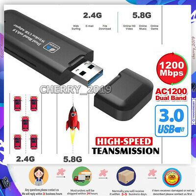 1200Mbps 5GHz Wireless WiFi Network Receiver Adapter USB 3.0 Dual Band Dongle • 8.99£
