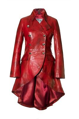 £295 • Buy Women's Fitted Lambs Leather Red Tailcoat Riding Equestrian Coat Jacket Impero