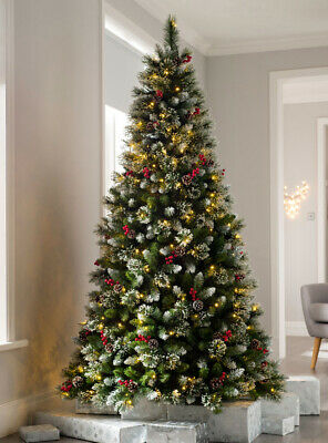Pre-Lit Christmas Tree Victorian Mixed Snow Tips Berries & Cones LED Lights • 139.99£