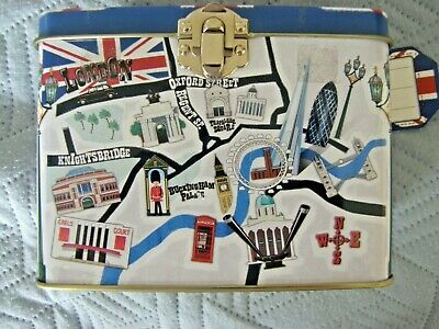 Sweet Tin In Shape Of Suitcase, Decorated With London Map & A - Z, Empty • 5.25£