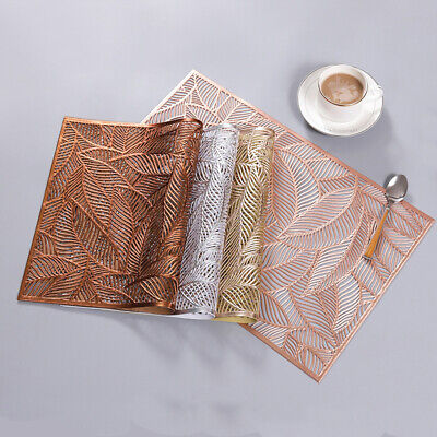 AU10 • Buy PVC Leaf Hollow Placemats Anti-Slip Pad Washable Dining Table Wedding Party Mats