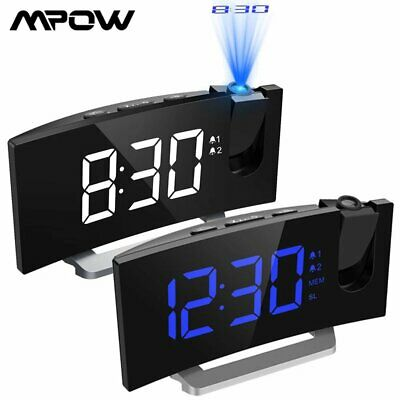 AU52.88 • Buy Mpow Projection Digital Snooze Clock FM Radio Dual Alarms With USB Phone Charger