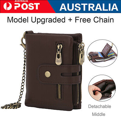AU9.99 • Buy Men's RFID Blocking Wallet Genuine Leather Purse Card Slots Coins Holder Chain