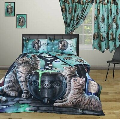 Lisa Parker Super King Size Duvet Cover Set Hubble Bubble Cats Witches • 74.99£