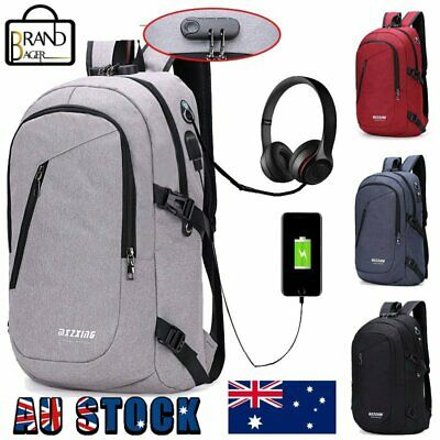 AU25.99 • Buy Mens Digit Anti-theft Lock USB Charging Travel School Bag Womens Laptop Backpack