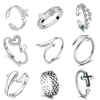 Rings Womens 925 Sterling Silver Adjustable Thumb Wedding Engagement Gift UK • 2.99£