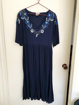 AU49.95 • Buy NEW ASOS Navy Blue Embroidered Sequin/Beaded Long Midi Babydoll Dress 12-14 L