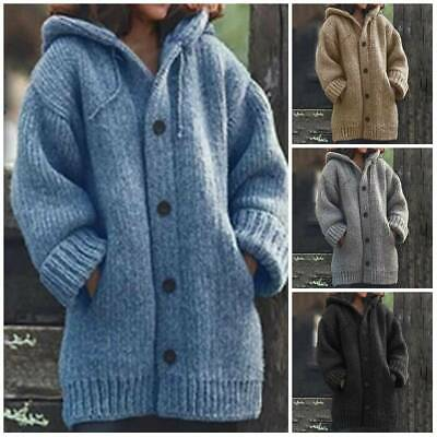 Womens Chunky Knitted Cardigan Ladies Warm Sweater Coat Jackets Jumper Winter 20 • 16.59£