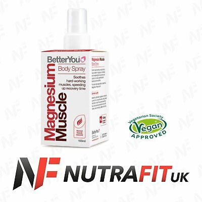 BETTERYOU MAGNESIUM MUSCLE BODY SPRAY Recovery Natural Relaxant 100ml • 12.99£