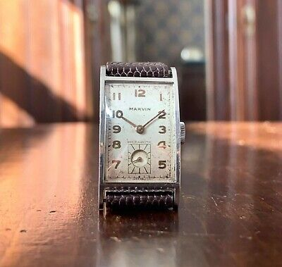 £300 • Buy Art Deco Boxed 1930s Marvin Tank Watch, Stainless Case, Cal 640 Movement
