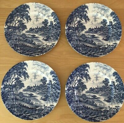 Vintage Ridgway Of Staffordshire  Meadowsweet  Set Of 4 Blue & White Plates • 33.95£