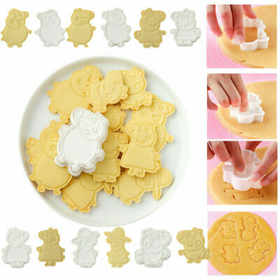 Peppa Family Cookie Cutter For Biscuits,Fondants Party Cake Embossed Mould 6pcs • 6.99£