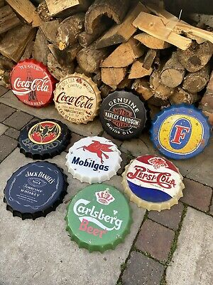 Retro Replica Wall Display Metal Bottle Tops Signs Bar Man Cave 30cm UK Seller • 10.99£