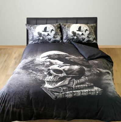 Alchemy Gothic King Size Duvet Cover Set Poe's Raven Skull Black Birds Crow • 50.99£