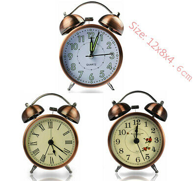 Coolzon Retro Bedside Alarm Clock Non Ticking Battery Powered, Vintage Twin Bell • 12.99£