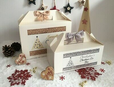 Personalised Christmas Eve Box Treat Gift Favour Present Bow Secret Santa Tree • 5.30£