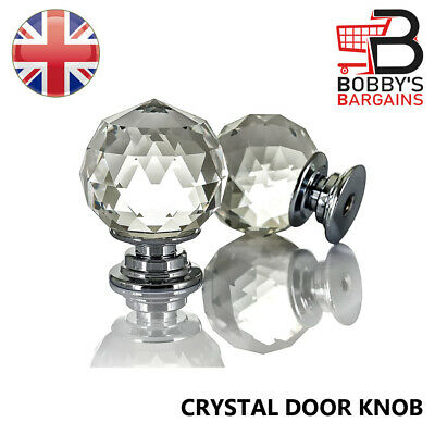 Crystal Diamond Glass Door Knobs Drawer Cabinet Cupboard Handle Clear Wardrobe • 6.49£