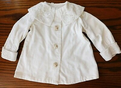 Vintage Childrens Coat Ivory Corduroy With Lace On Collar And Cuffs 1950s 1960s • 30£
