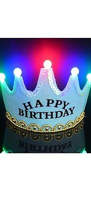 Happy Birthday LED Light Up Prince Crown Party Hats Blue • 3.99£