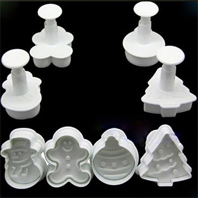 DIY Christmas Snowman Fondant Cake Mold Biscuit Cookie Plunger Cutters Decor_ Fk • 3.58£