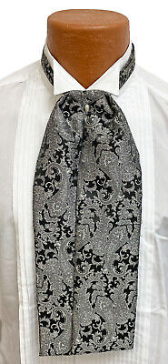 $22.49 • Buy Men's Silver And Black Paisley Ascot Cravat Tie With Pin Victorian Morning Dress