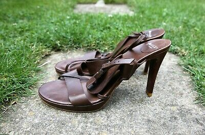 Made In Italy Audley Strappy Buttery Soft Chocolate Leather High Heel Shoes, 40 • 10£