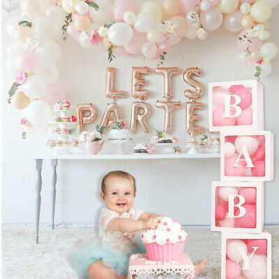 White Letter Transparent Boxes Packing Wedding Baby Shower Party Decoration UK • 9.99£