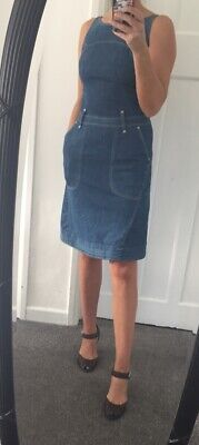 Levis Red Label Stretch Denim Mid Length Dungaree Style Dress Size XS • 28£