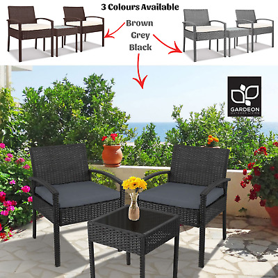 AU196.90 • Buy NEW Outdoor Patio Setting 3 Piece Glass Top Table 2 Chairs Veranda Seating Decor