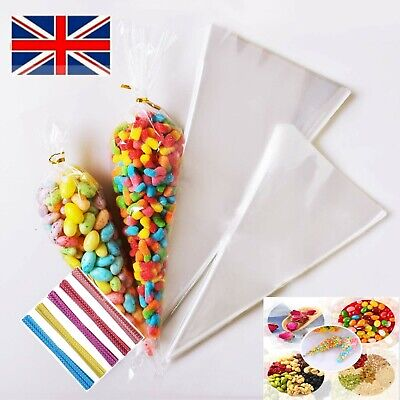 Plastic Cone Bags Clear Cellophane Sweet Cones Party Wedding Candy Popcorn Gift • 3.70£