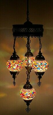 £84.98 • Buy Turkish Moroccan Glass Mosaic Multicolour Hanging Lamp Ceiling Light Chandeliers